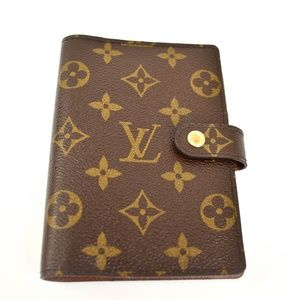 "LOUIS VUITTON: Brown ""LV"" Logo Folding Agenda (qv)"